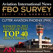 Cutter Aviation Phoenix Sky Harbor (PHX) Rated Top in Line Service in Arizona and One of the Top 40 FBOs in America in 2011 AIN FBO Survey